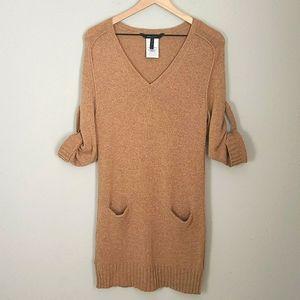 BCBGMAXAZRIA Wool/Yak Taupe Sweater Dress